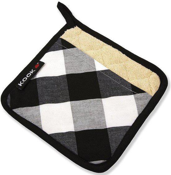 KOOK Pannenlap zwart - wit ruit | Kooktextiel & accessoires