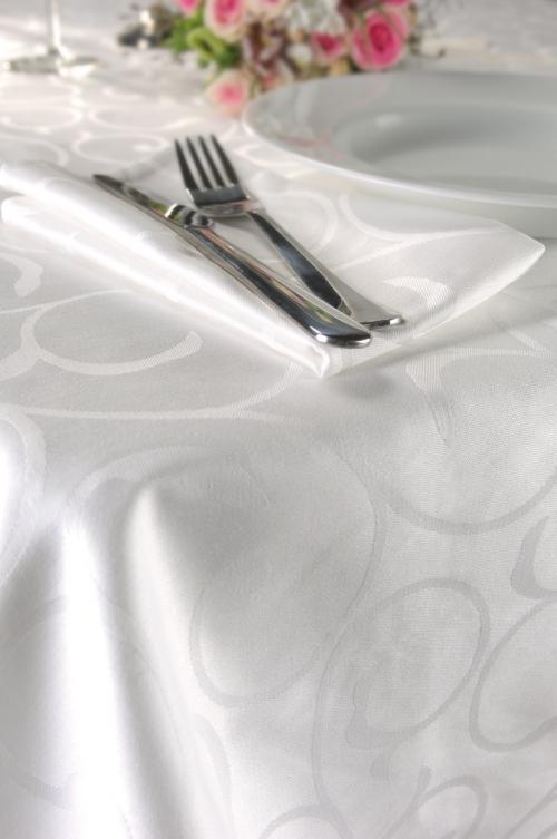 KOOK Tafelkleed Damast - 160x300 cm - Wit