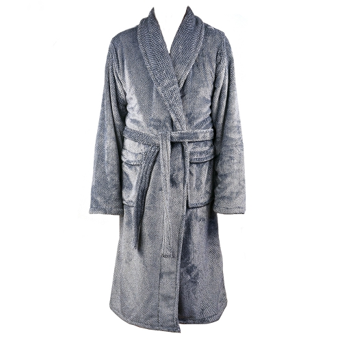 ZEST Badjas fleece L/XL Spikkel Grijs