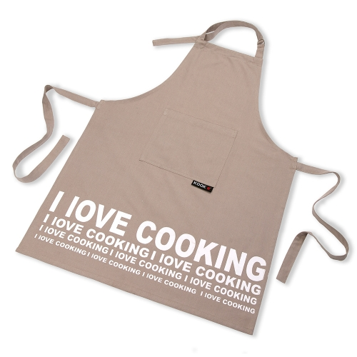 KOOK Schort 70x90 I LOVE COOKING beige R13.403