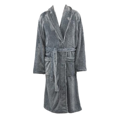 ZEST Badjas fleece L/XL Streep Grijs/Wit R16.722