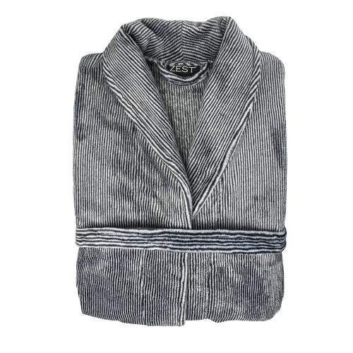 ZEST Badjas fleece L/XL Streep Grijs/Wit R16.722ZEST Badjas fleece L/XL Streep Grijs/Wit R16.722